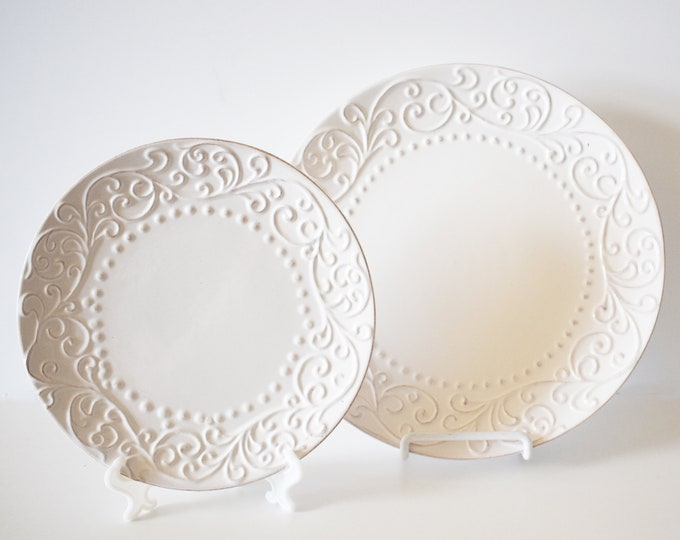 Bianca White Salad Plate American Atelier Scroll Dot Pattern