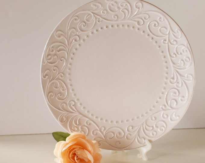 Bianca White Dinner Plate American Atelier Scroll Dot Pattern