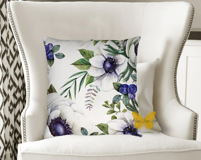 Blue Flower Pillow Exclusive Design, Blue Pillow, Flower Pillow, Designer Pillow