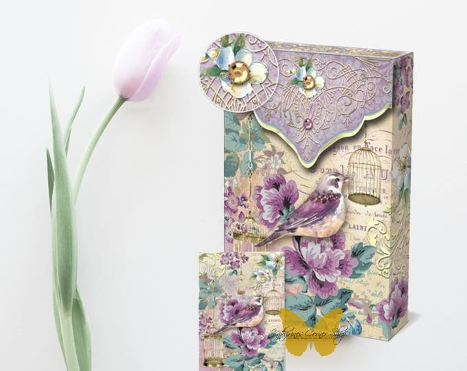 Spring Lavender Bird Note Cards in Decorative Box