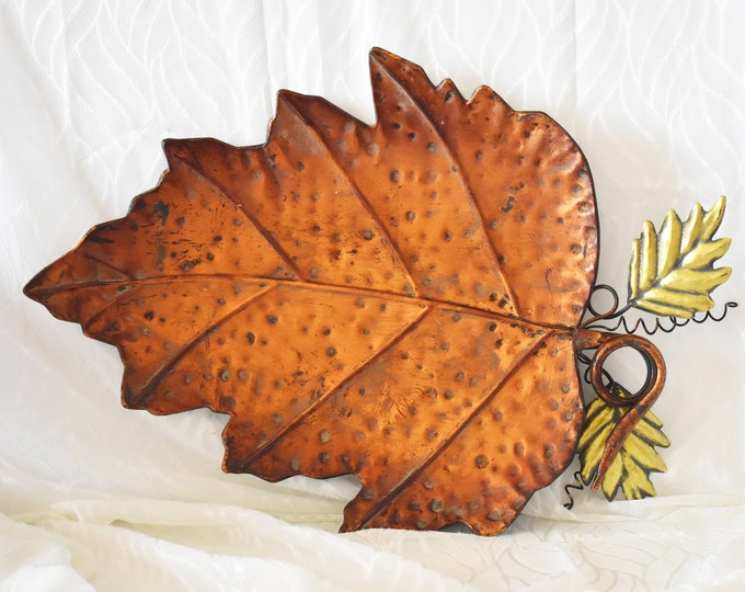 Hammered Metal Copper Leaf Tray