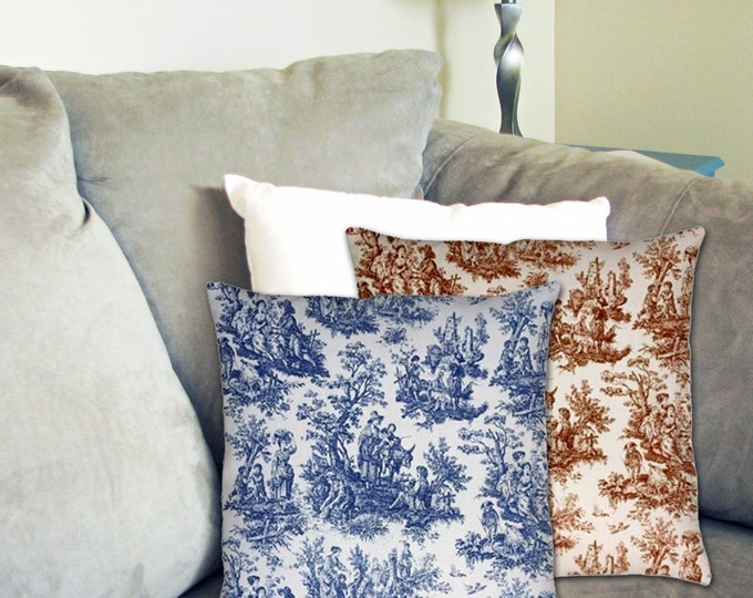 French Farmhouse Toile Pillow
