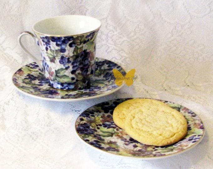 Purple Grapevine Teacup Saucer Set