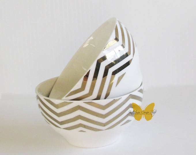 2 Gold and White Bowls