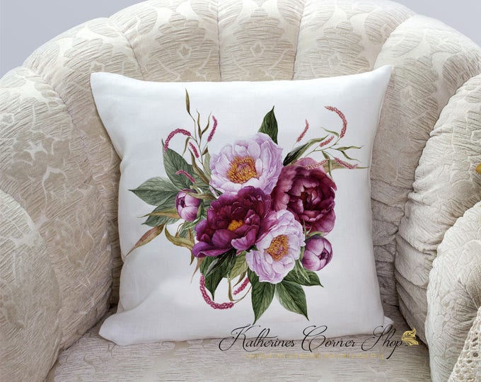 Fall Burgundy Floral Pillow