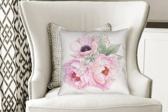Pink Peony Flower Pillow