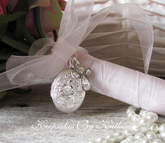 Crystal Angel Bouquet Locket