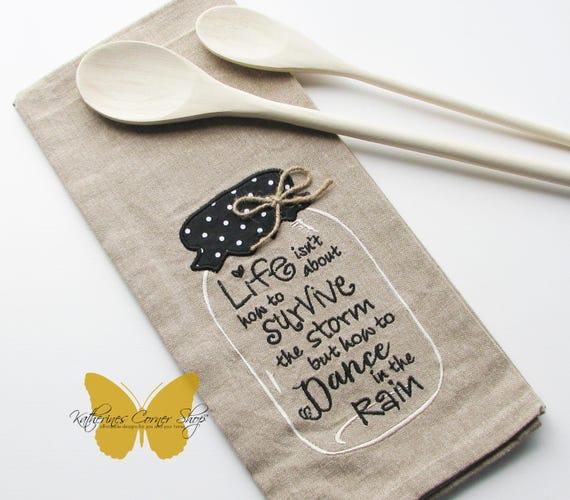 Dance in the Rain Embroidered Mason Jar Tea Towel