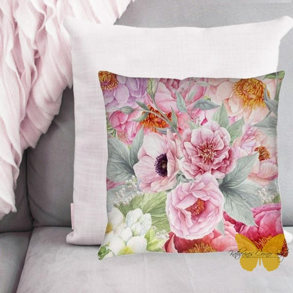 Flower Garden Pillow Exclusive Design, Pink Flower Pillow, Living Room Pillow, Sun Porch Pilllow