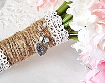 Heart Photo Bouquet Locket |  Bouquet Photo Locket  | Picture Bouquet Locket | Silver Heart Locket for Bouquet | Wedding Bouquet locket