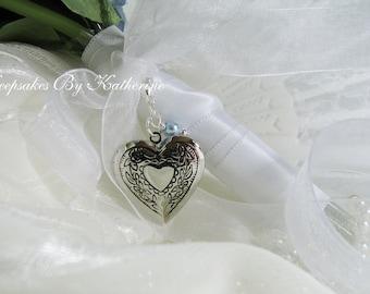Brides Bouquet Heart Locket,  Vintage Wedding, Vintage Style Locket