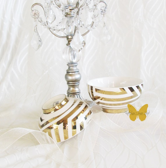 2 Gold and White Snack Bowl Set