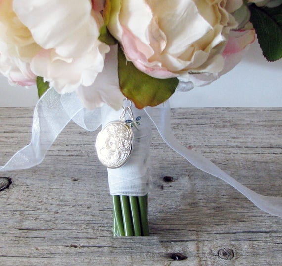 Brides Bouquet Locket silver dragonfly charm