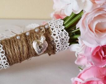 Silver Heart Bouquet Locket | Small Heart Bouquet Locket | in Memory of | Heart Photo Locket | Etsy Wedding | Bouquet Photo Charm