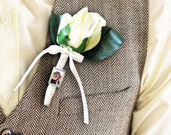 Boutonniere Photo Charm | Groom Boutonniere Memorial Charm | Memorial Boutonniere | Personalized Groom Photo Charm | Gift for Groom
