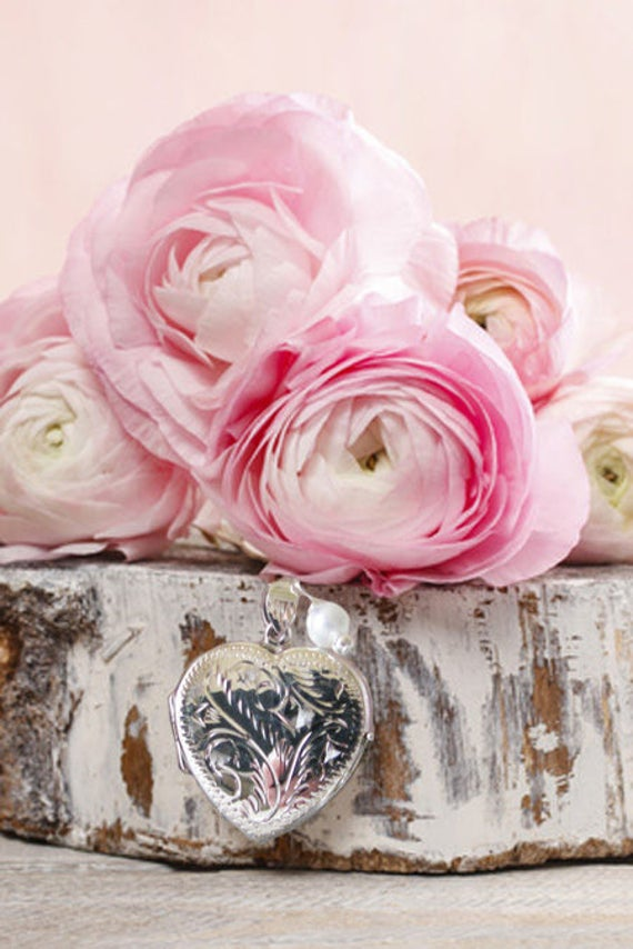 Silver Heart Brides Bouquet Locket