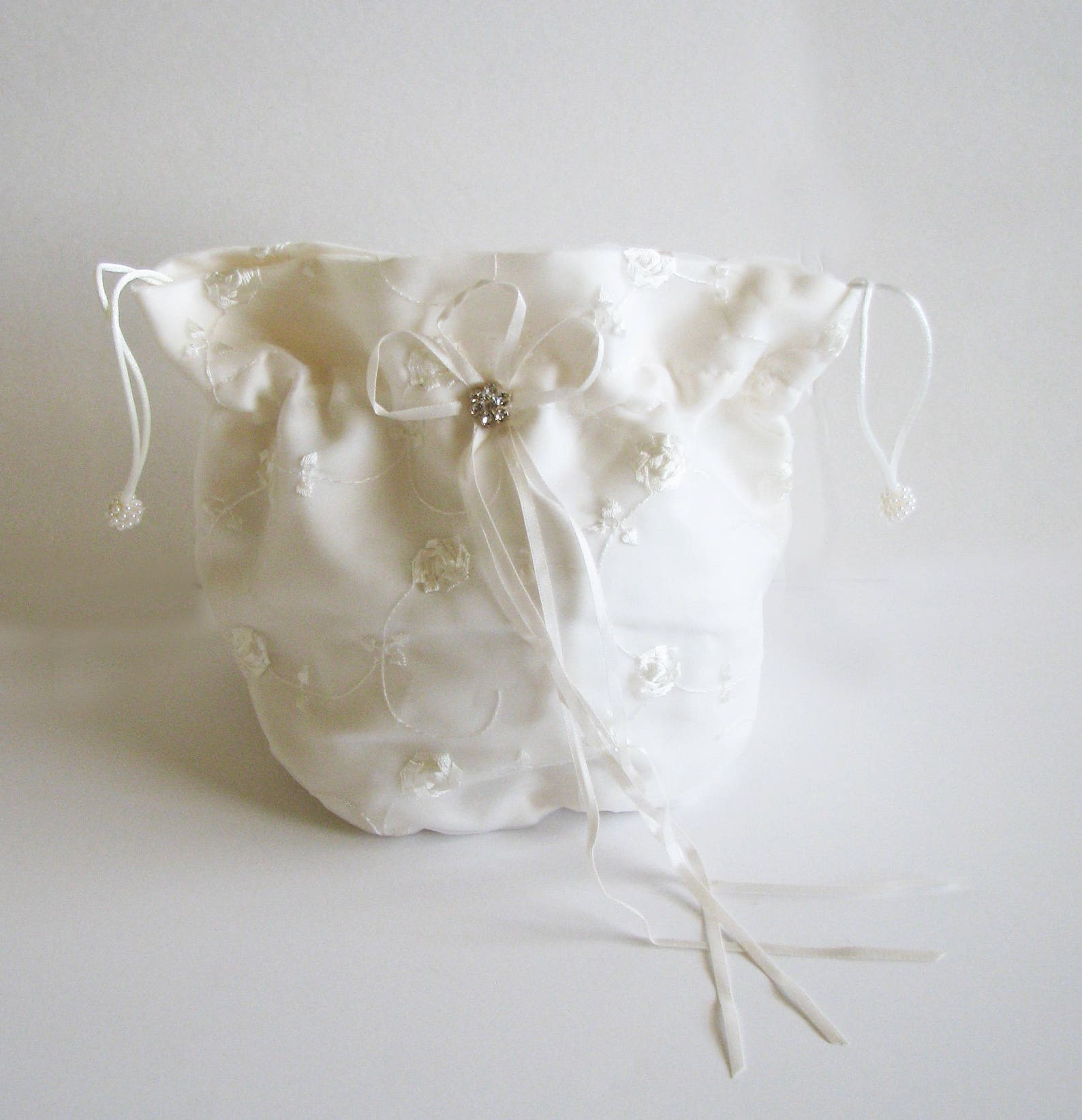 brides drawstring bag, dollar a dance bag, brides bag, embroidered bag, little girl ballet shoe bag