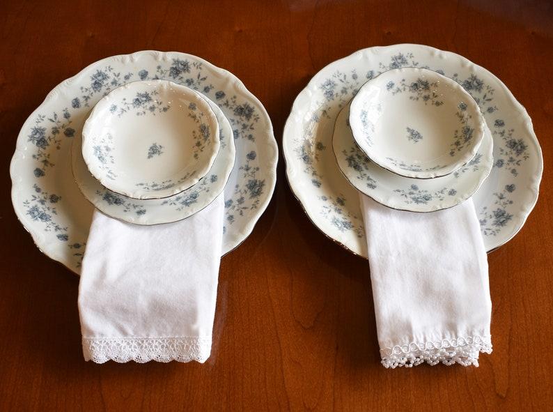 KBKN Gift for the Bride Two Elegant Cotton Napkins Set of Lace Trim Napkins Set of Beaded Edge Napkins