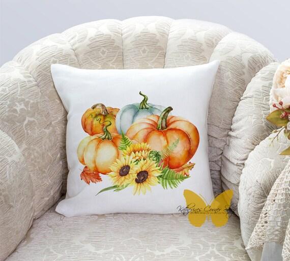 Autumn Pumpkin Sunflower Pillow