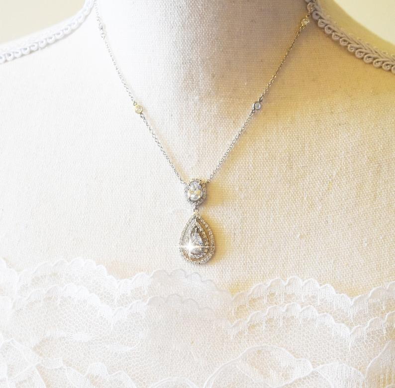 Sterling Silver Cubic Zirconia Teardrop Pendant Necklace image 1