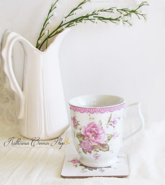 Pink Peonies Tea Mug  Set