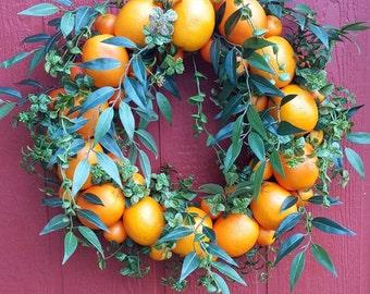 Orange Wreath....Front Door Wreath.....Orange Wall Wreath