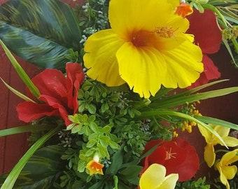 Hibiscus Wreath, Boxwood Wreath, Tropical Wreath, Summer Door Wreath. Patio Wreath, Hawaiin Wreath, Luau