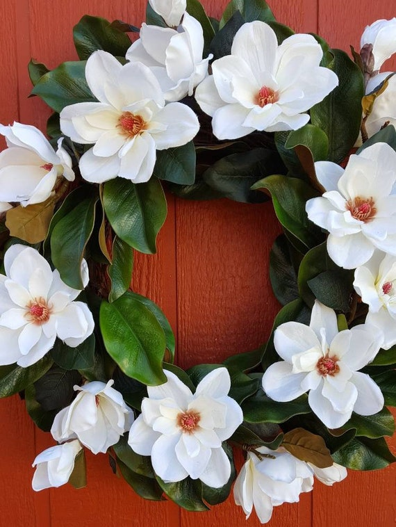 Magnolia Door Wreath White Magnolias Wall Decor Living Etsy