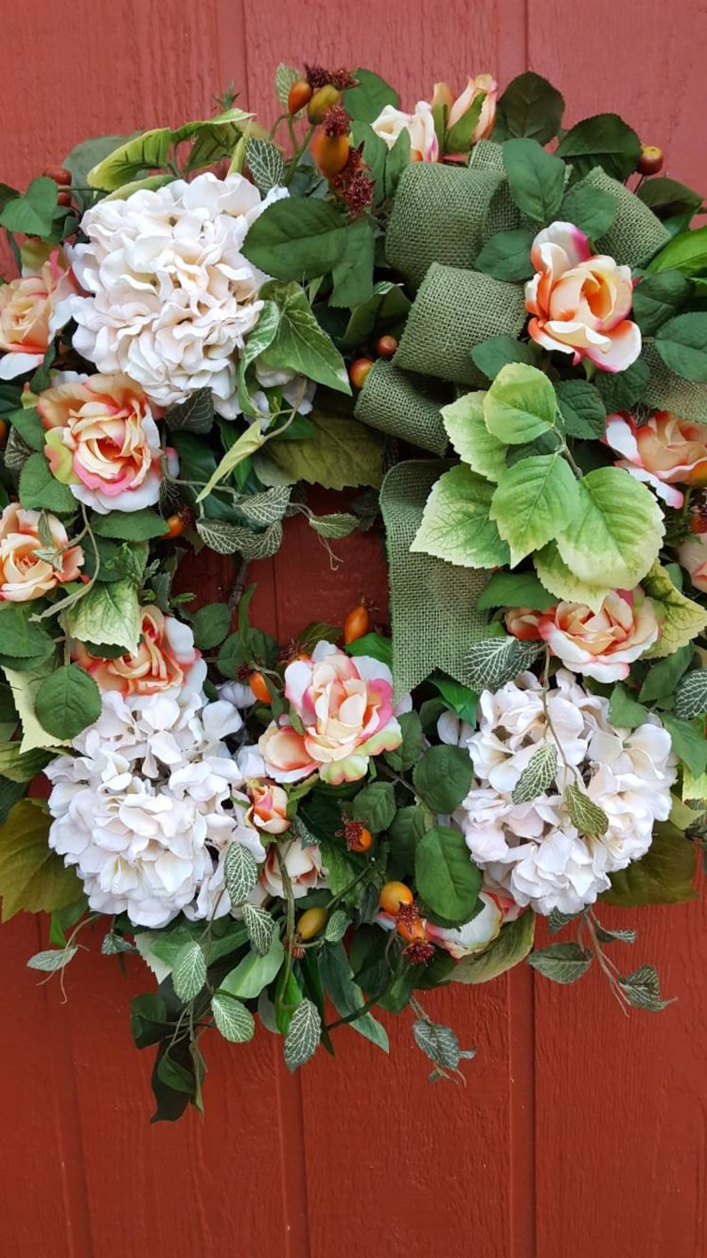 Summer Floral Wreath....Spring Door Wreath....Hydrangea and Rose Wreath.....