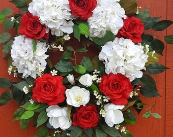 Hydrangea Wreath...Red Roses....Bedroom Wreath....Living Room Wreath...Mothers Day Gift