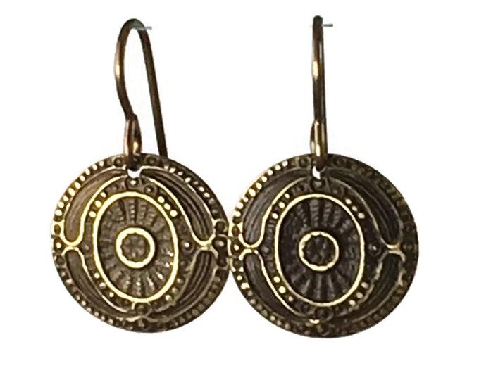 Small Brass Medallion Earrings