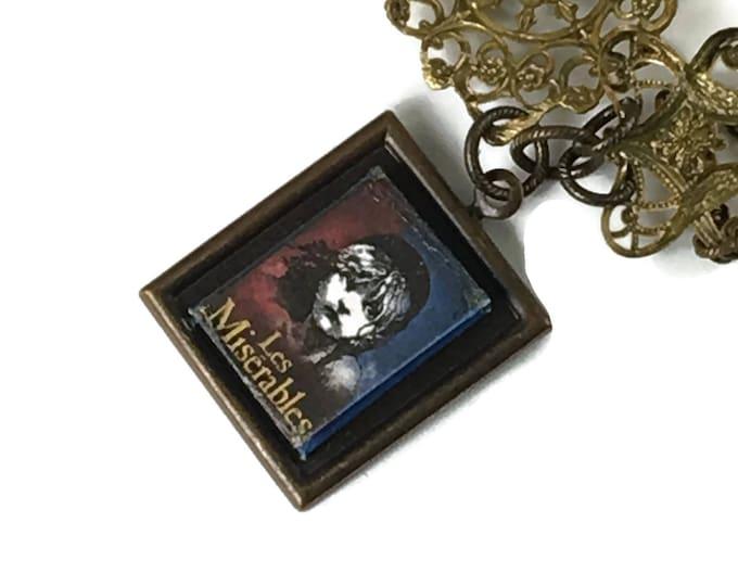 Les Miserable Hidden Book Necklace with Tiny Readable Book, hand painted Fleur de Lis Pendant Victor Hugo