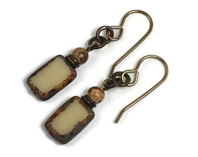Tan glass rectangles with Desert Jasper Bead accents, brass ear wires, shorter dangle earrings