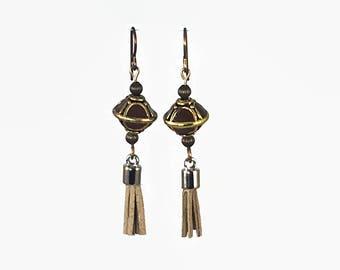 Brown Geometric Tassel Earrings