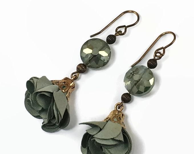 Beautiful Green Fabric Flower Earrings