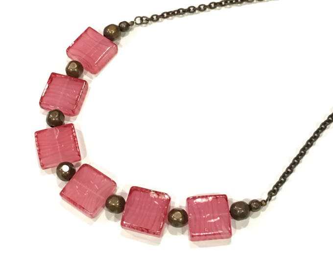 Bright Pink Glass Square Statement Necklace on Brass Chain