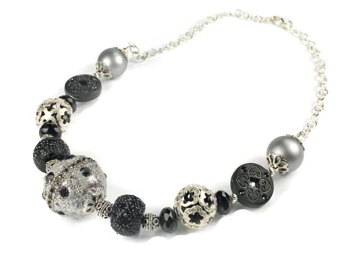 Black and Silver Large Bead Statement Necklace