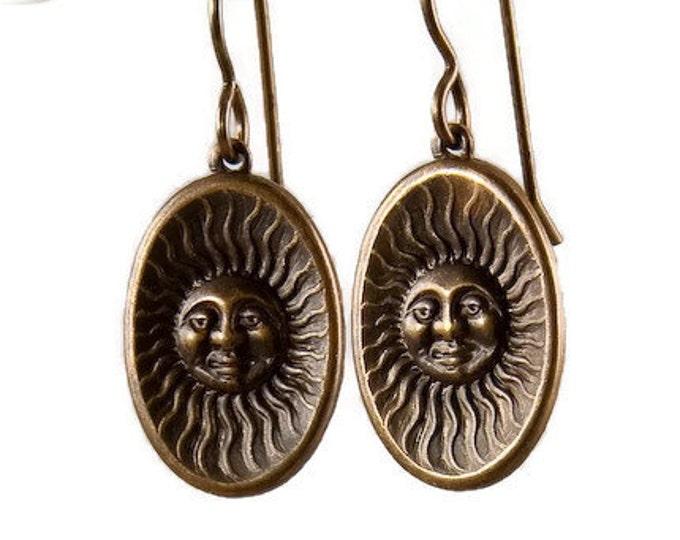 Brass Sun Earrings