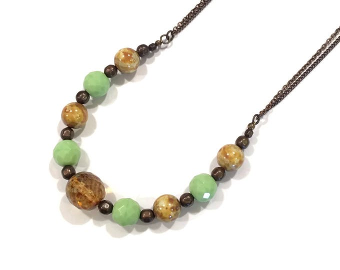 Light Yellow Green and Tan Glass Bead statement Necklace, Short Necklace, Large Beaded Necklace, Bold Necklace