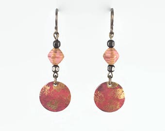 Antique rose and gold hand painted earrings