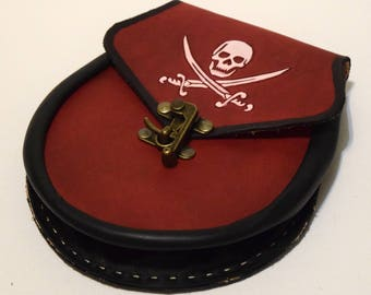 Leather Pirate  Sporran pouch hand made red black