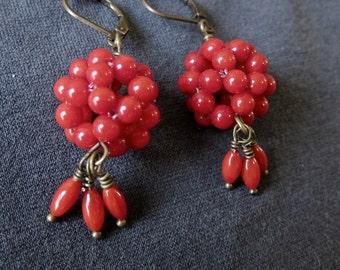 Coral Globe festive gemstone dangle earrings