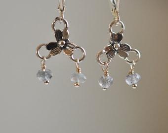 Sterling Silver trefoil flower earrings with tiny labradorite dangles