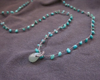 Crochet jewelry Turquoise and Adventurine minimalist crocheted gemstone necklace