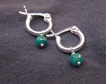 Tiny Gem Hoop earrings with genuine emerald