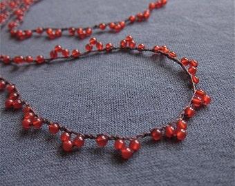 Carnelian Lace crocheted gemstone necklace