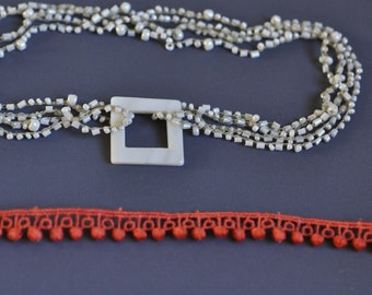 Long multistrand crocheted necklace in ivory white with square mother-of-pearl pendant