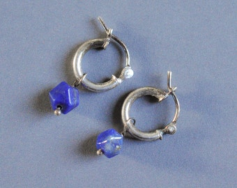 Tiny Gem Hoop earrings with genuine faceted lapis lazuli drops