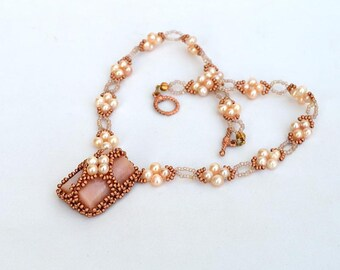 Pearl cluster set of earrings and pendant in graduated pink to purple colors on copper Happy pearls set in pink and purple P253 E1386