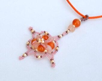 Pink and orange star pendant Beadwork pendant necklace with rose quartz and orange carnelian Real mineral jewelry Gemstone pendant Р103